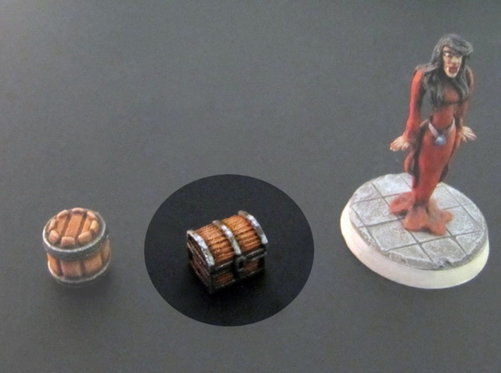 Chests 10x8x8mm (18pcs) 3d printed White plastic, hand-painted. 28mm mini on the right, for scale.
