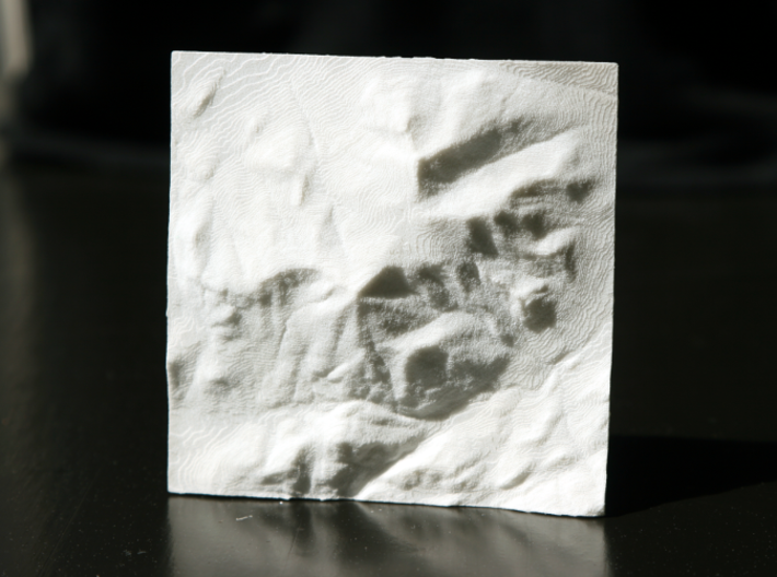 3'' Whiteface Mtn. Terrain Model, New York, USA 3d printed Photo of actual model, North is up