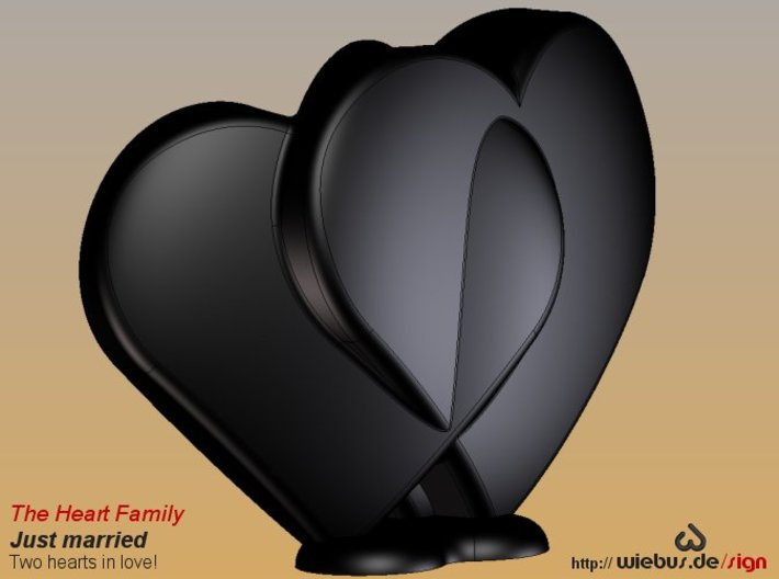 Heart Family - Just married! (medium size) 3d printed