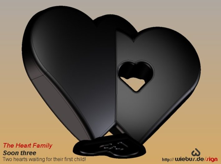 Heart Family - Soon three! (large size) 3d printed