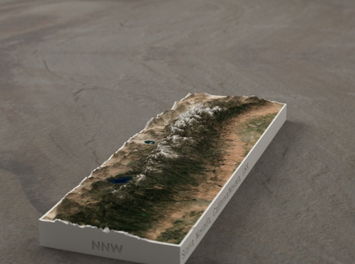 Sierra Nevada, CA/NV, USA, 1:3000000 3d printed