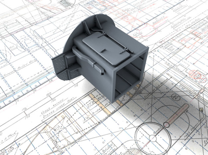 1/72 Flowers Class RDF Lantern and Office 1942 3d printed 3d render showing underside detail