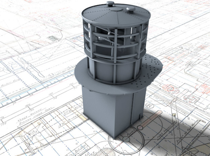 1/144 Flowers Class RDF Lantern and Office 1942 3d printed 3d render showing view from Fore/Port
