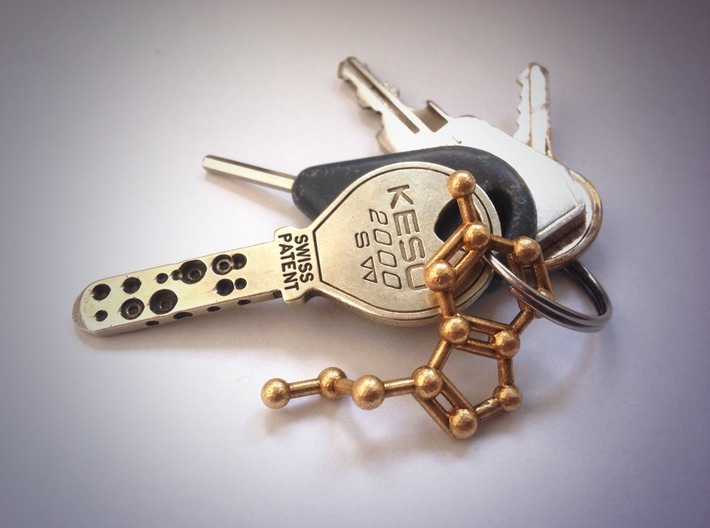Serotonin Molecule Keychain Necklace 3d printed Serotonin molecule keychain in raw brass.