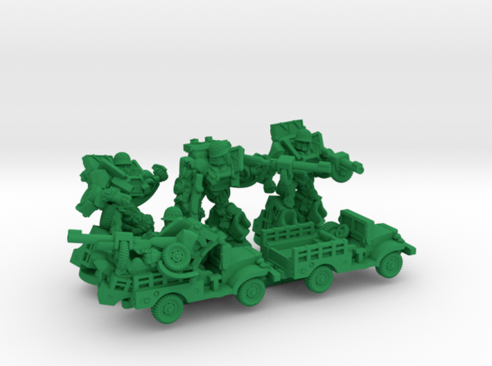 """Slipgear Squad, """"Sarge"""", """"Eggsy"""" and """"Deadeye"""" Min 3d printed"""
