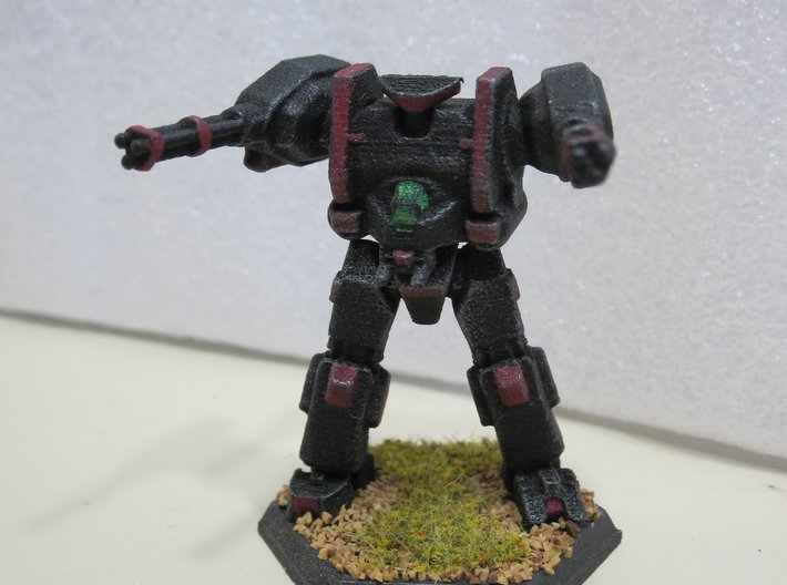 Mecha- Hunter Pose 2 (1/285th) 3d printed Painted by Devin Ramsey (Sumaire) in 'Dreadnought BattleCorps' colors for use in Battletech tabletop wargaming