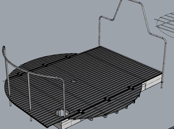 Stern Decking Support and Depression Rails for S38 3d printed