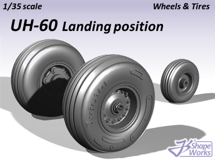 1/35 UH-60 Wheels & Tires Landing position 3d printed