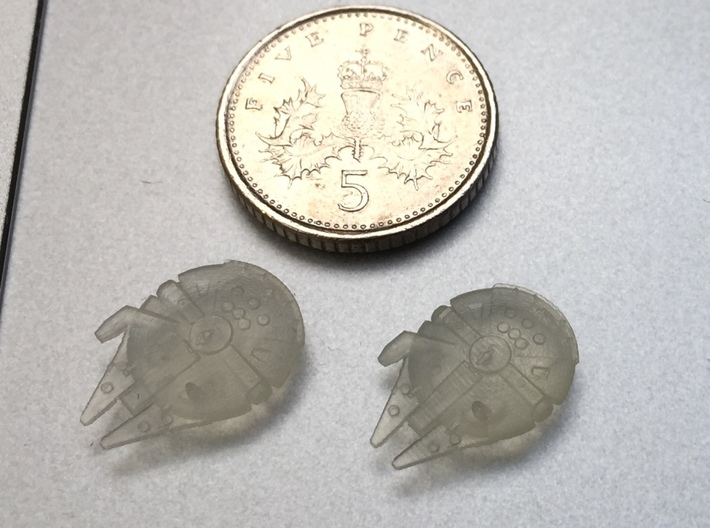1:2700 Twin Millenium Falcons 3d printed A UK 5p is the same basic size as a US or Canadian dime or a 2 eurocent coin