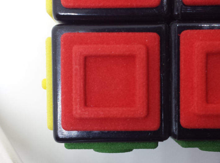 Red replacement tile (Rubik's Blind Cube) 3d printed Red tile close-up