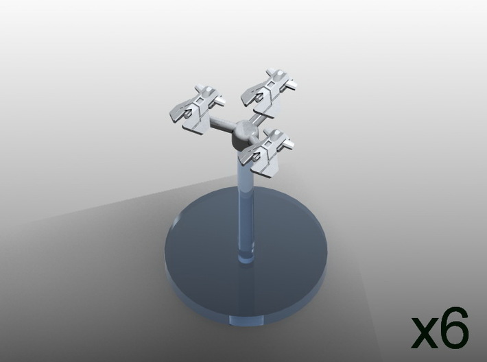 Space fighter P squadrons (6pcs) - Fleet Commander 3d printed Digital render  with 30mm diameter flight stand