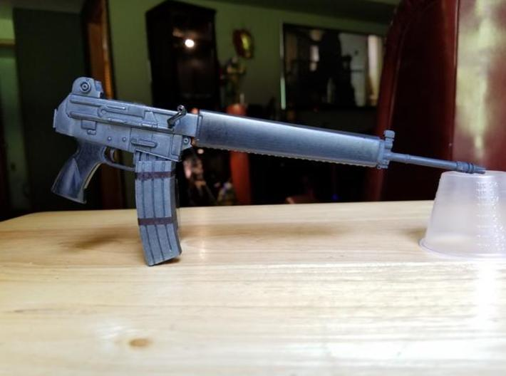 AR-18 with removeable double clip 1:4 scale 3d printed AR-18 model in frosted ultra detail, hand painted.  Size shown is 1:4 scale.
