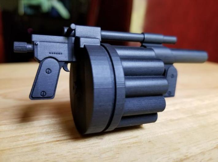 Hawk MM1 Grenade Launcher 1:6 scale 3d printed MM1 model in frosted ultra detail, hand painted.  Size shown is 1:6 scale.