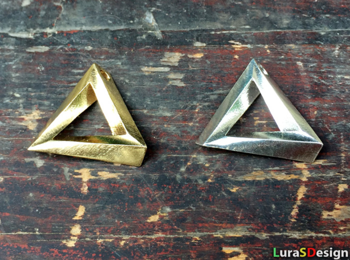 Impossible Triangle Pendant 3d printed raw brass and raw silver
