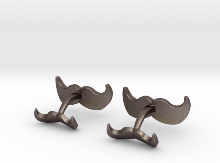 Mustache Cufflinks 3d printed