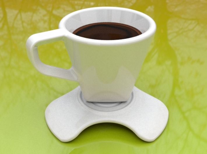 'Dark coffee' saucer 3d printed 'Dark coffee' saucer paired with its cup