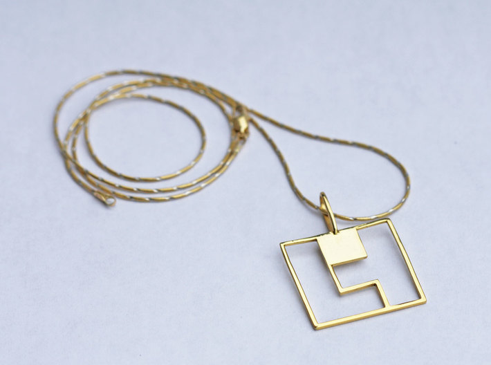 Tetromino Pendant - Square 3d printed Tetromino Pendant Square in Gold Plated Brass