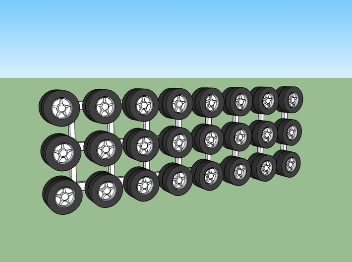 Tractor Trailer Wheels & Tires V1 - 24 Pack 3d printed