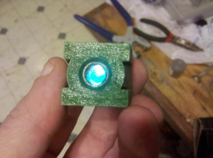 Green Lantern 3d printed sanded paint to expose aluminum powder, added acrylic gem, finished product.