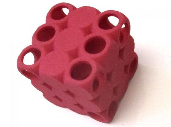 D6 3x3x3 Packed Spheres Dice 3d printed Red Strong & Flexible