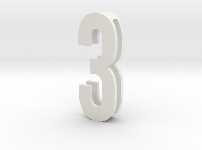 Choker Slide Letters (4cm) - Number 3 3d printed