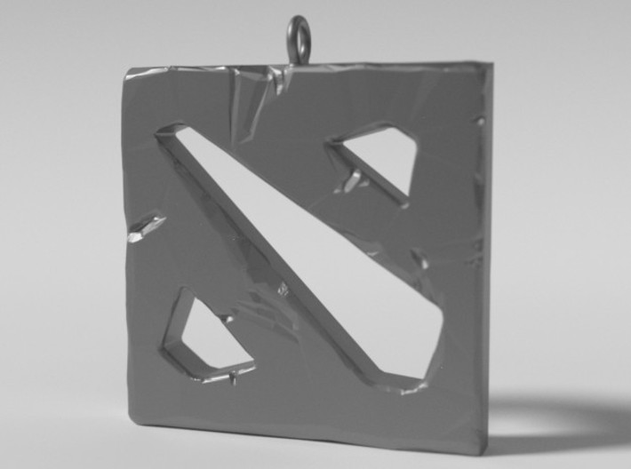 DOTA 2 Polygonal Logo Pendant Keychain Necklace 3d printed Metallic Preview Render
