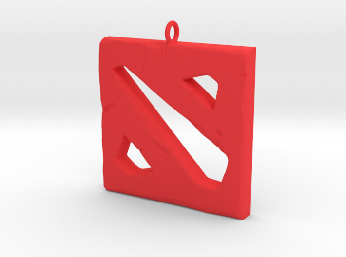 DOTA 2 Polygonal Logo Pendant Keychain Necklace 3d printed