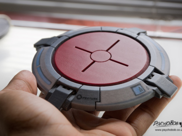 Portal button Coaster 3d printed With a little bit of light sanding and a clear coat layer or two