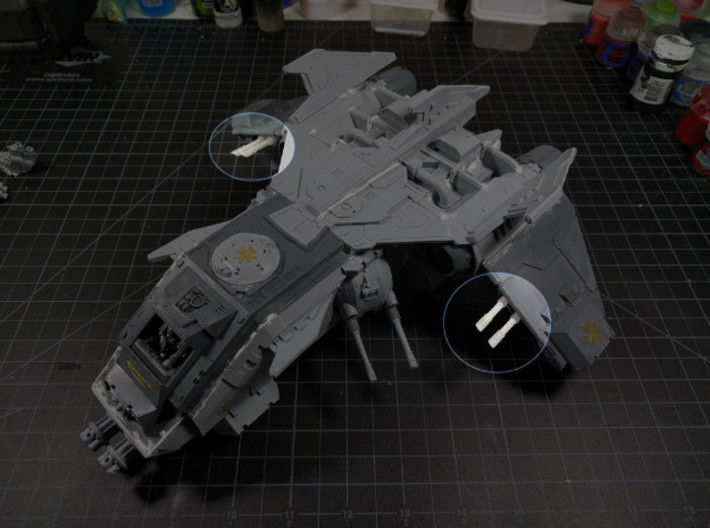 Burning Lizard Wing Laser Cannons 3d printed Just to preview on the model. Fire Raptor not included (Should I even say that?)