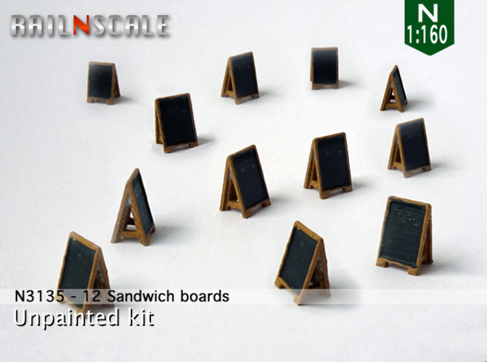 12 Sandwich boards (N 1:160) 3d printed