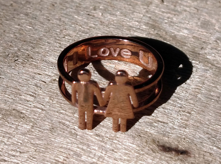 Love Collection Rings - Man and Woman Ring 3d printed Customize the Inner Band!