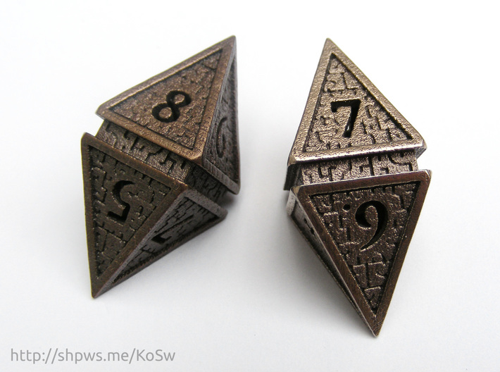 Hedron D8 (Hollow), balanced gaming die 3d printed Matte bronze (left) and stainless steel (right)