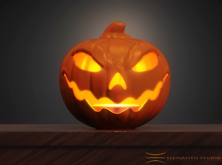 Jack O'lantern Tea-Light Lamp 8cm 3d printed Hand Painted FUD Example (Candle/ Light not included)
