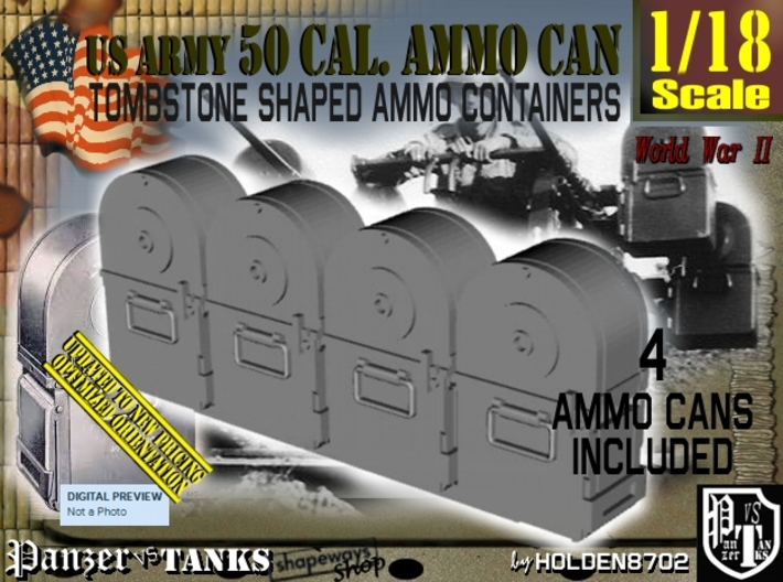 1/18 Tombstone Cal 50 Ammo Can Set001 3d printed