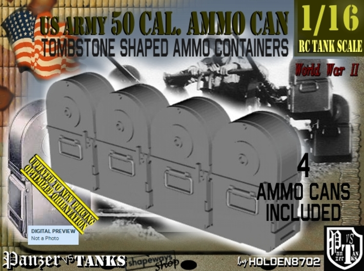 1/16 Tombstone Cal 50 Ammo Can Set001 3d printed