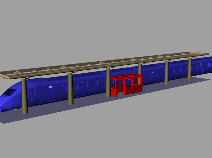 N Gauge Canopy Kit 3d printed Showing a train (Not included)