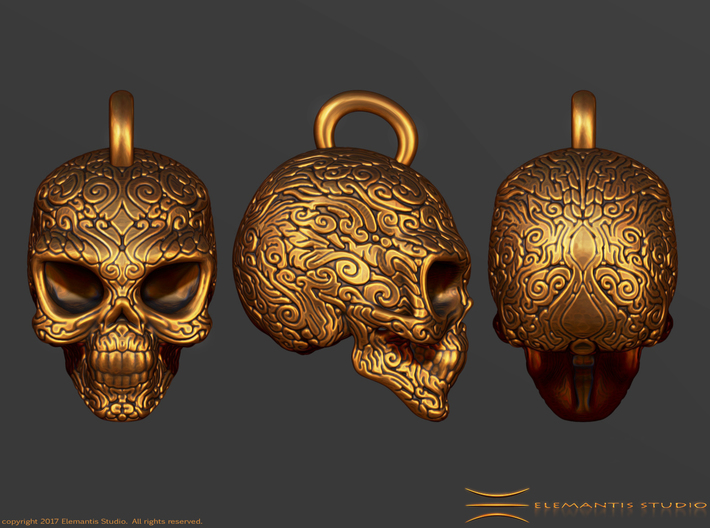 Day of the Dead/ Halloween Skull Pendant 2.6cm 3d printed Detailed View