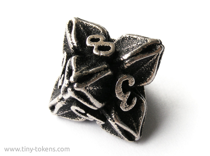 Floral Dice – D8 Gaming die 3d printed Stainless steel 'inked' in black