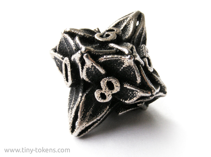 Floral Dice – D10 Gaming die 3d printed Stainless steel 'inked' in black