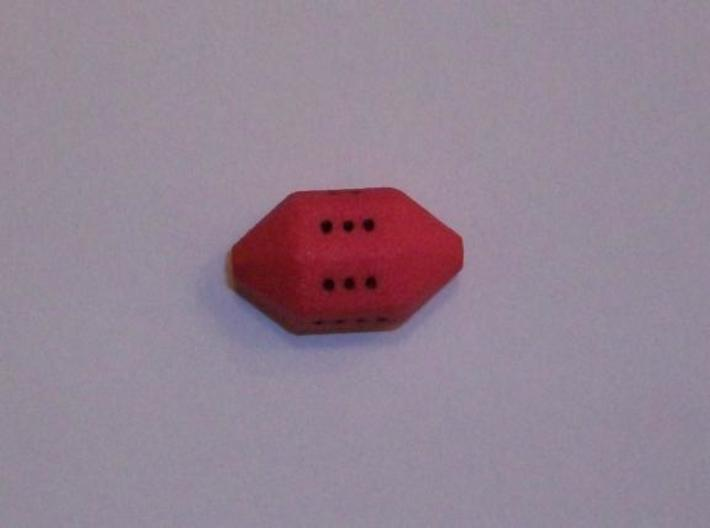 Cycle D7 Die 3d printed A roll of six.  Printed in Strong & Flexible Plastic.  Finished with acrylic paint.