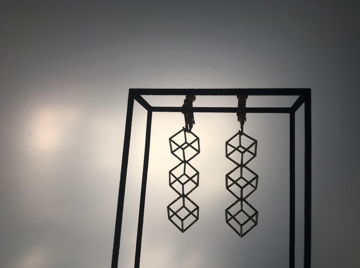 INTERLOCKING CUBE EARINGS 3d printed