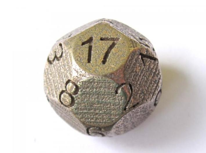 D17 Sphere Dice 3d printed In Stainless Steel (numbers manually inked) - picture courtesy of Justin M.