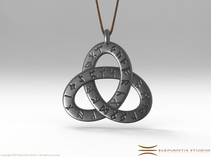 Saxon Rune Poem Triquetra 4.5cm 3d printed Pendant cord not included