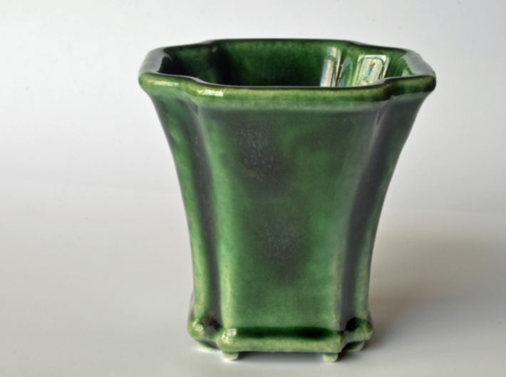 Scalloped Bonsai-Style Shot Glass 3d printed Shown in Oribe Green glaze
