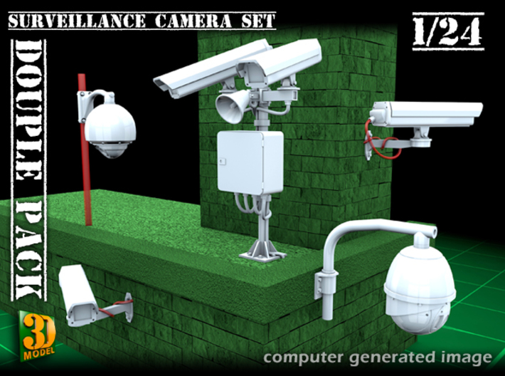 Surveillance cameras (1/24) double pack 3d printed surveillance cameras - 1/24th scale - double pack