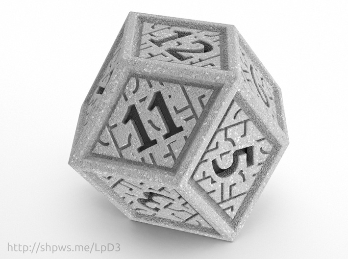 Hedron D12 (Solid), balanced gaming die 3d printed