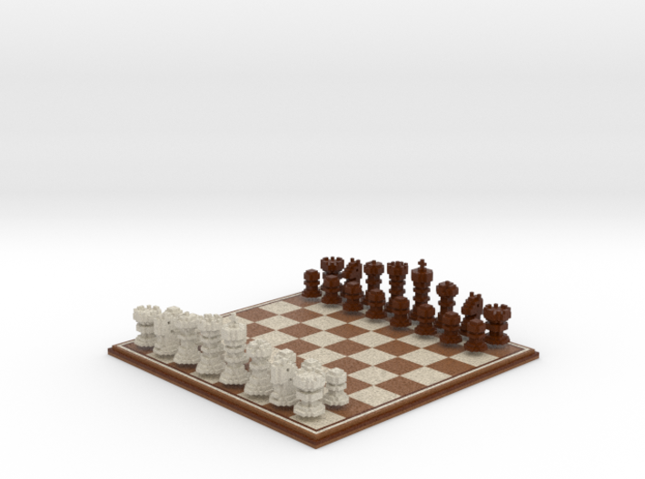 3D Pixel Chess Set - Wooden 3d printed