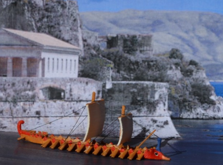 1/700 Trireme 3d printed Fully painted with additional rigging.  Photo provided by Jürgen Klüser.