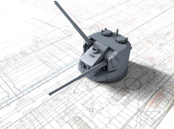 1/350 Dual Purpose 5.25 Inch Guns 1943 x8 3d printed 3d render showing product detail
