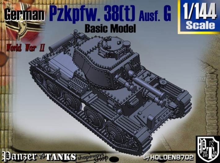 1-144 Basic PzKpfw 38t Ausf G 3d printed